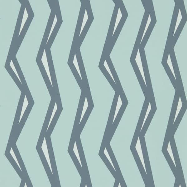 Blauw behang met geometrische lijnen van Scion: Rayo MistDenim